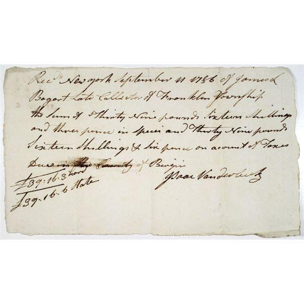 Isaac Vanderbeek, 1786 Handwritten Receipt