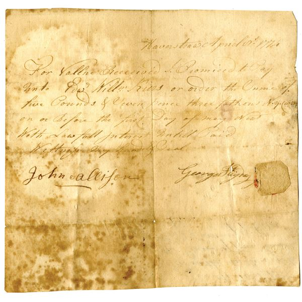 """Haverstraw, New York, 1774 Promissory Note, Payable in """"N.Y. Currency"""""""