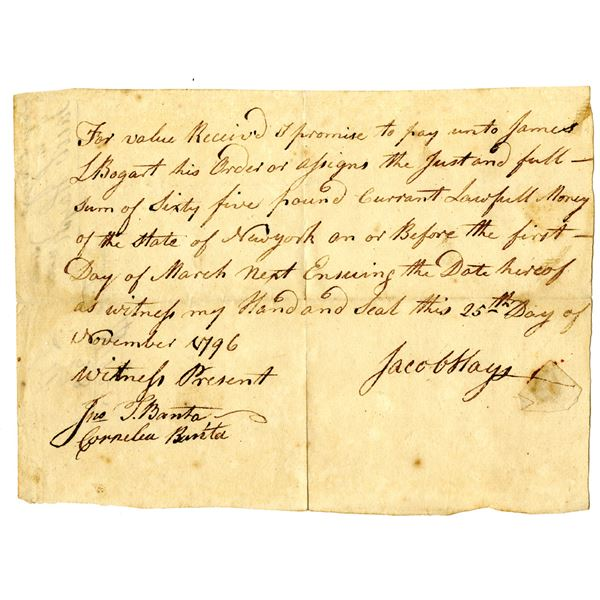 """State of New York, 1796 Promissory Note Payable in """"Currant Lawful Money of the State of New York"""""""