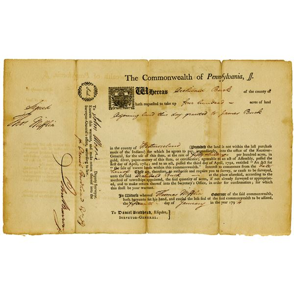 Commonwealth of Pennsylvania, 1794 Issued Land Deed Signed by Thomas Mifflin