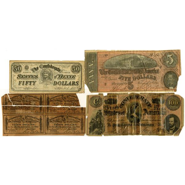 C.S.A., Banknote, Coupon and Ad Note Quartet, ca. 1864 to 1920's.