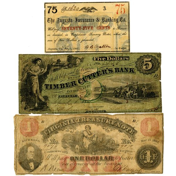 Georgia and Virginia Obsolete Banknote trio from, 1861-63