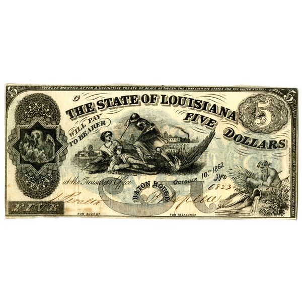 State of Louisiana, 1862 Obsolete Banknote