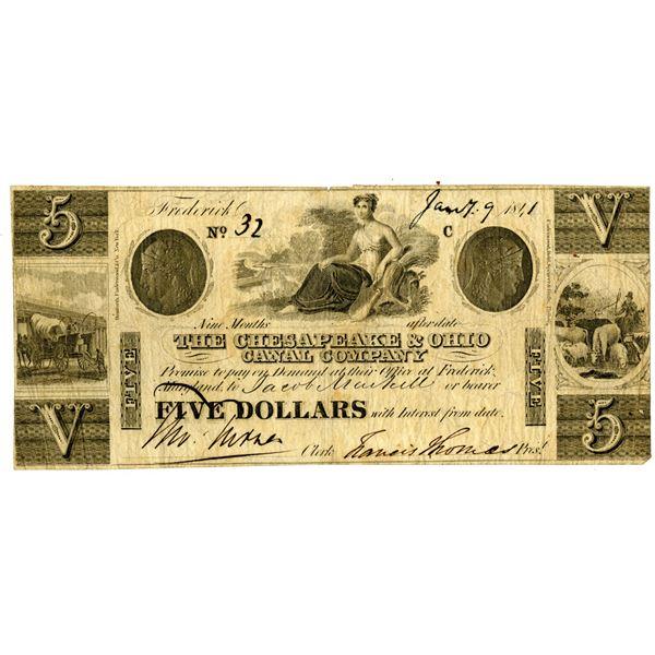 Chesapeake & Ohio Canal Co. 1841 I/U Obsolete Banknote