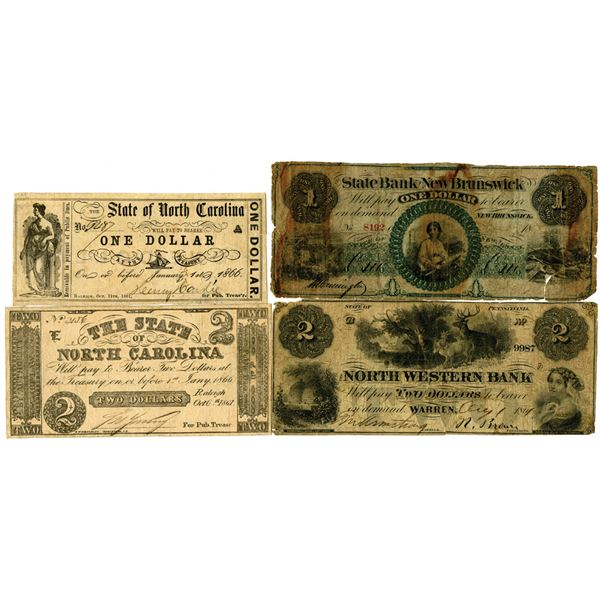 Southern and Northern Obsolete Banknote Assortment, ca. 1860s