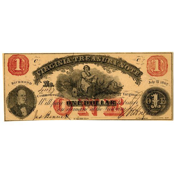 Virginia Treasury Note, 1862 Banknote
