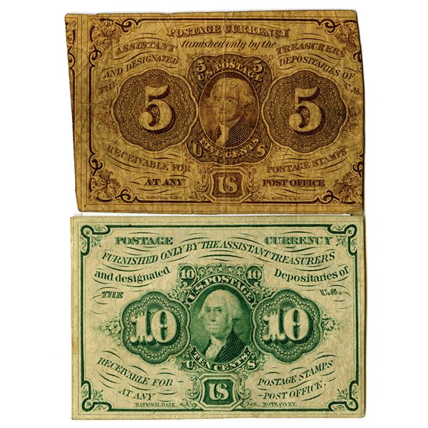 First Issue Fractional Currency Pair, 5 Cents, Fr#1230 and 10 Cents, Fr# 1242