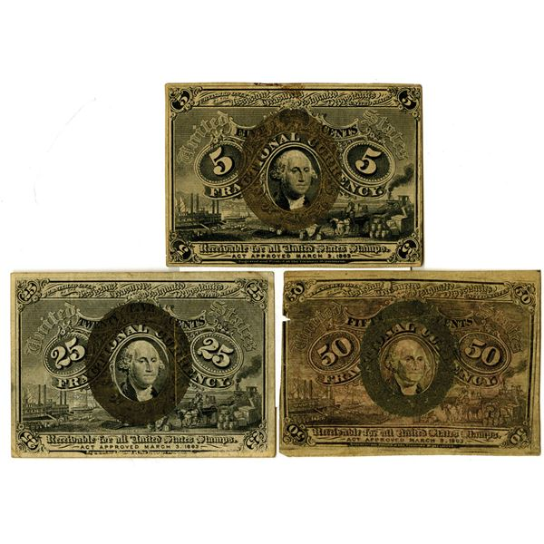 U.S. 2nd Issue Fractional Currency Trio