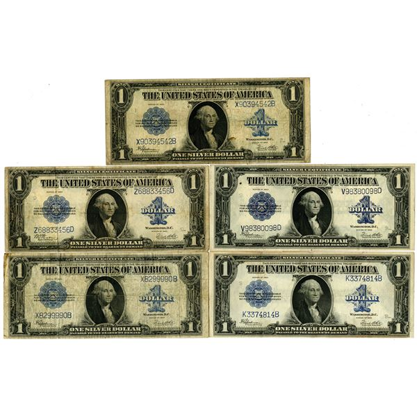 Silver Certificate. Series of 1923. $1, Fr.# 237 and 238 Lot of 5 Issued Notes.