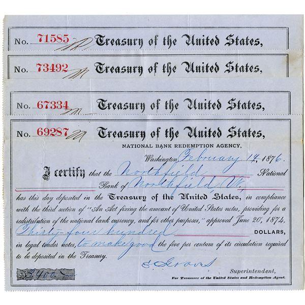 Northfield National Bank, 1876 Issued United States Treasury Deposit Certificate Quartet