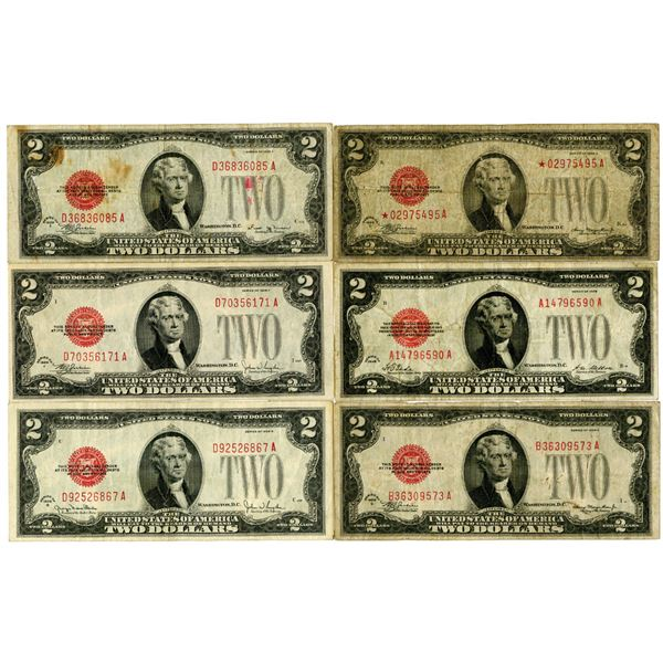 U.S. Note $2 Group of 6 Including Series 1928 D Star Note.