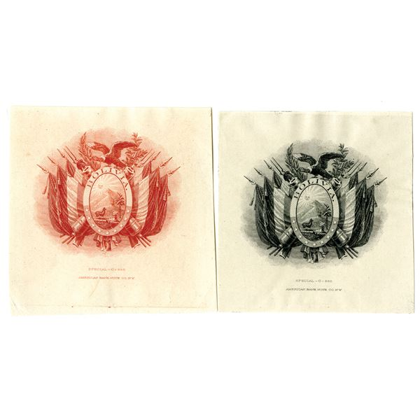 Bolivia Coat of Arms Proof Vignette Pair, ca. 1870-1890's by ABNC