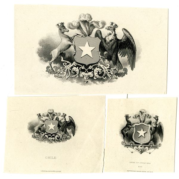 Chile Coat of Arms Proof Vignette Trio ca.1860-1880's by ABNC and NBNC
