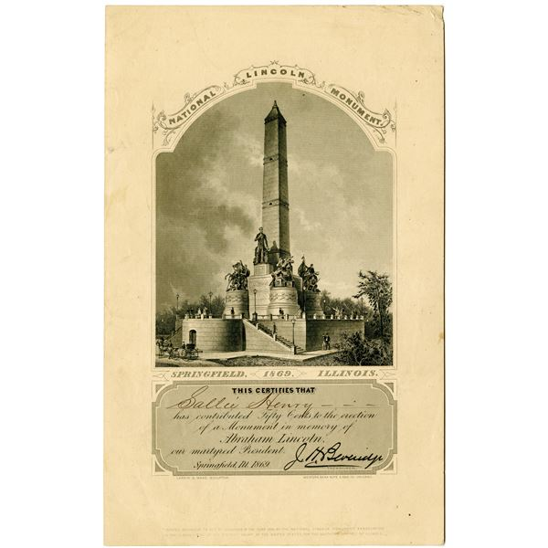 National Lincoln Monument, 1869 Issued Contribution Certificate by WBNC
