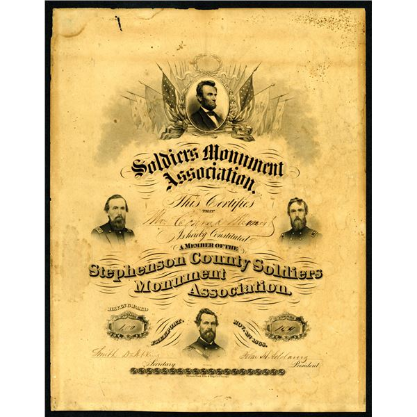 Stephenson County Soldiers Monument Association Membership Certificate dated 1868 by Western BNC.