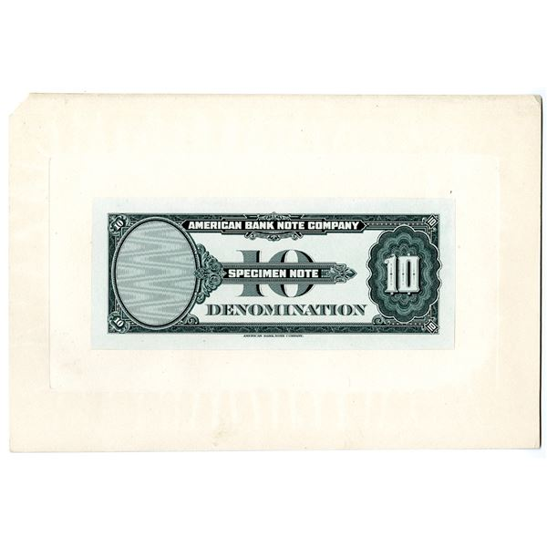 """American Bank Note Co. ca. 1929 Advertising """"10 Denomination"""" Large Die Proof of Back"""