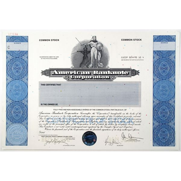 American Banknote Corp. 1996 Specimen Stock Certificate With ABN 200th Anniversary Hologram Logo At