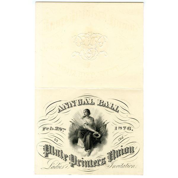Plate Printers Union Annual Ball, 1876 Ladies Invitation