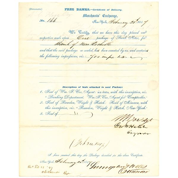 Rawdon, Wright & Hatch Stampless Letter to NY State for Bank of New Rochelle 1847 Obsolete Banknote