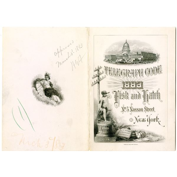 Telegraph Code by Fisk and Hatch Bankers, 1883 Unique Approval Proof Pamphlet Cover by ABNC.
