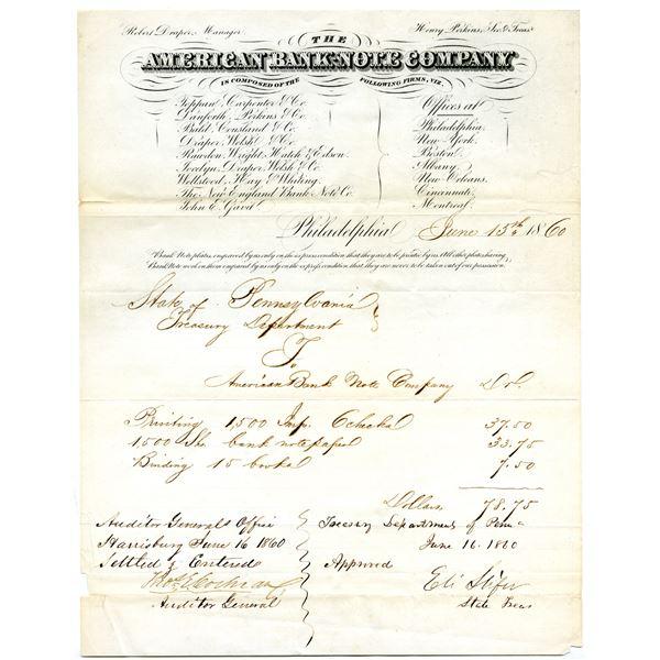 American Bank Note Company, June 15, 1860 Letterhead issued in Philadelphia.