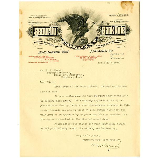 Security Bank Note Co. Letterhead, 1909 Typewritten Letter