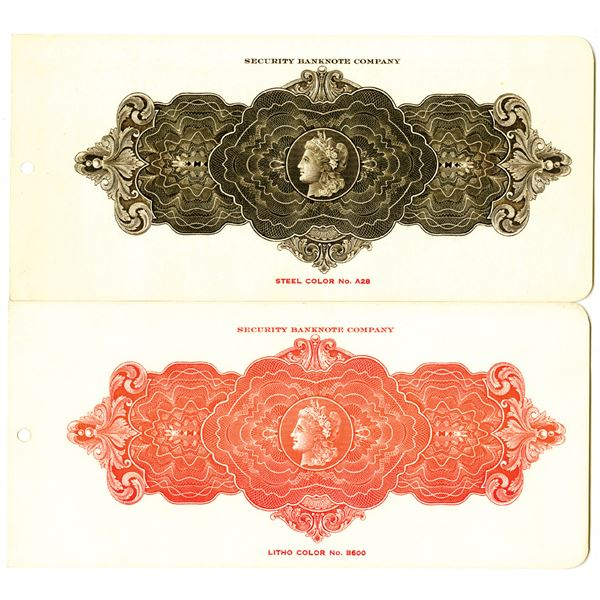 Security Banknote Co., ca, 1920's Color Sample Pair