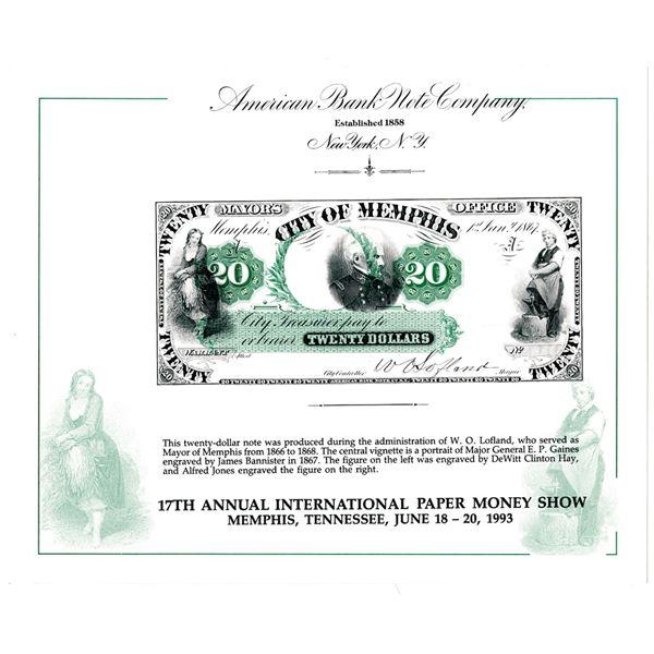 City of Memphis 1993 Souvenir Card Error for the Annual International Paper Money Show