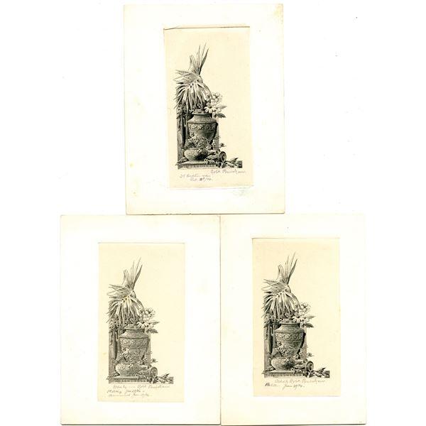 Bureau of Engraving & Printing, 1896 Progress Proof Trio Engraved by Robert Ponickau.