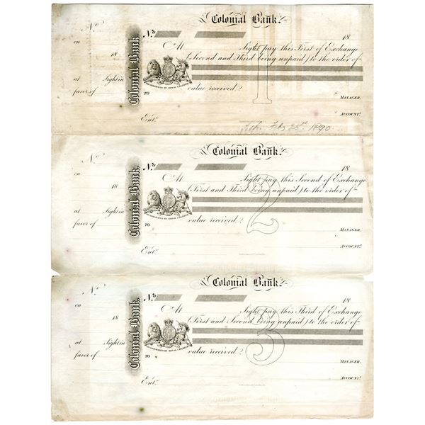 Colonial Bank, 1890  Uncut Proof First, Second, and Third Exchange Trio