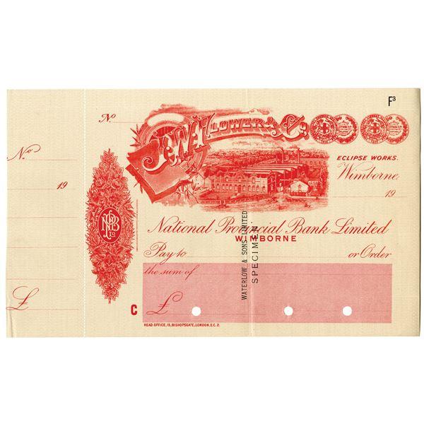 J.W. Flower & Co. Eclipse Works, National Provincial Bank Ltd., 1900-1920 Waterlow & Sons Specimen C