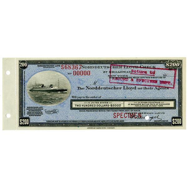Norddeutscher Lloyd, 1920-30 Specimen Traveler's Check