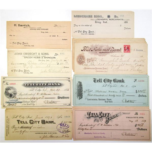 Large Group of Issued Bank Checks, ca. 1880-1910s