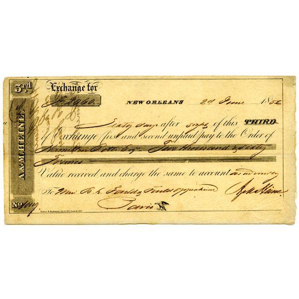 A. & M. Heine, 1856 Issued Third Exchange