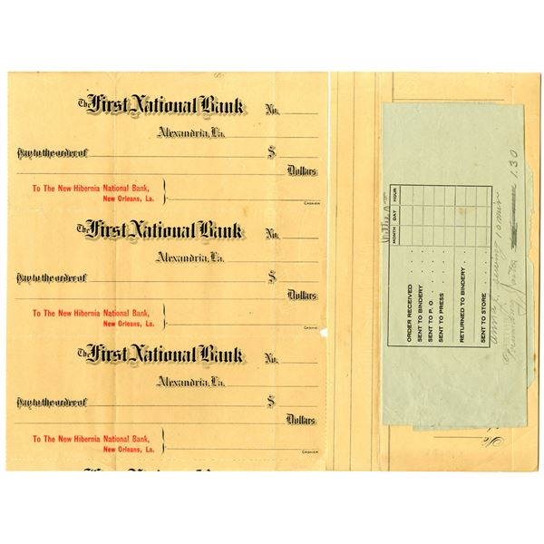 First National Bank, New Hibernia National Bank, Uncut Proof Check Trio, ca. 1900s
