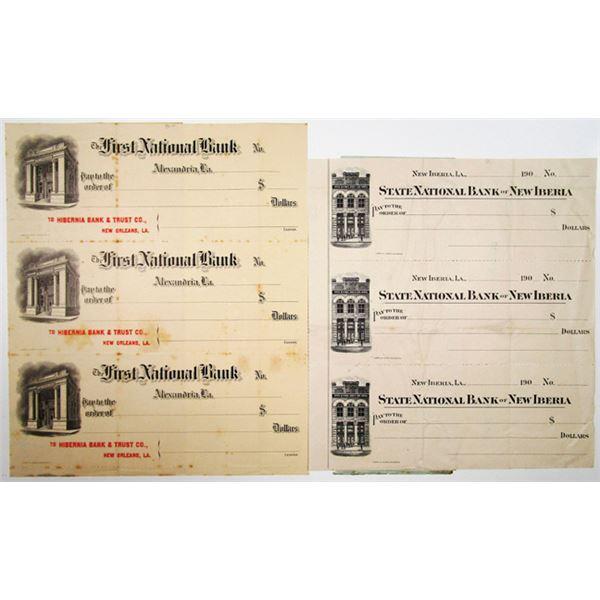Louisiana Banks Uncut Pair of Specimen-Proof Checks, ca. 1900-1909