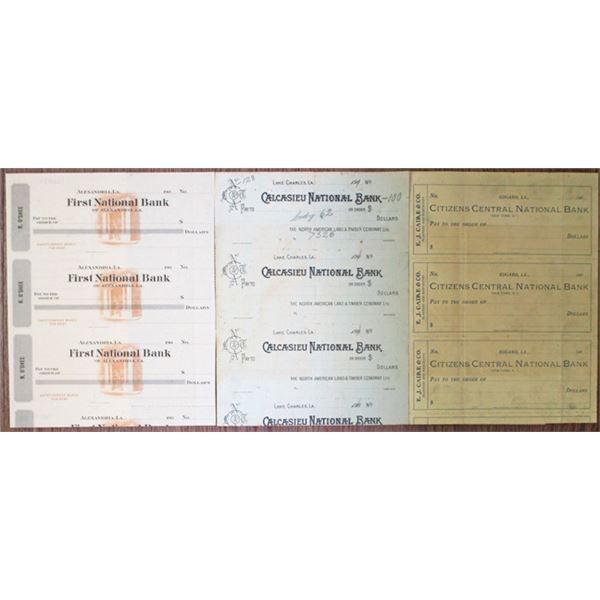Louisiana Banks Uncut Trio of Specimen-Proof Checks, ca.1900-1909