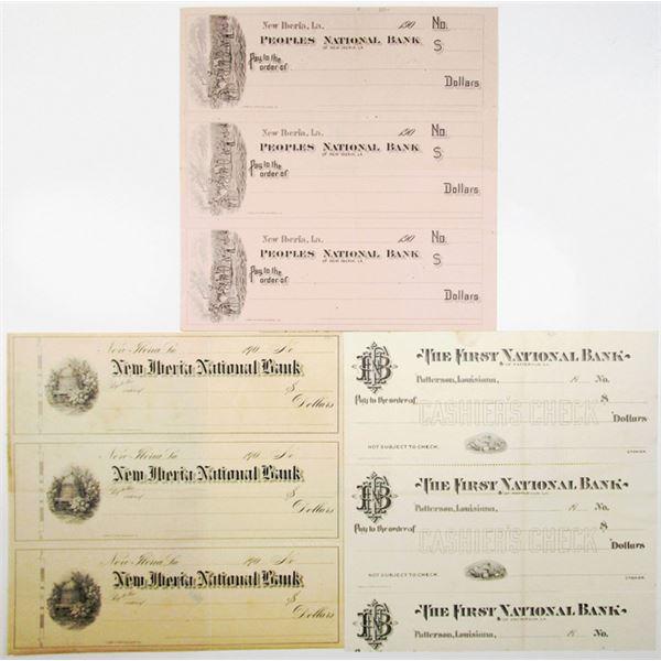 Louisiana Specimen/Proof Bank Checks, ca.1900s