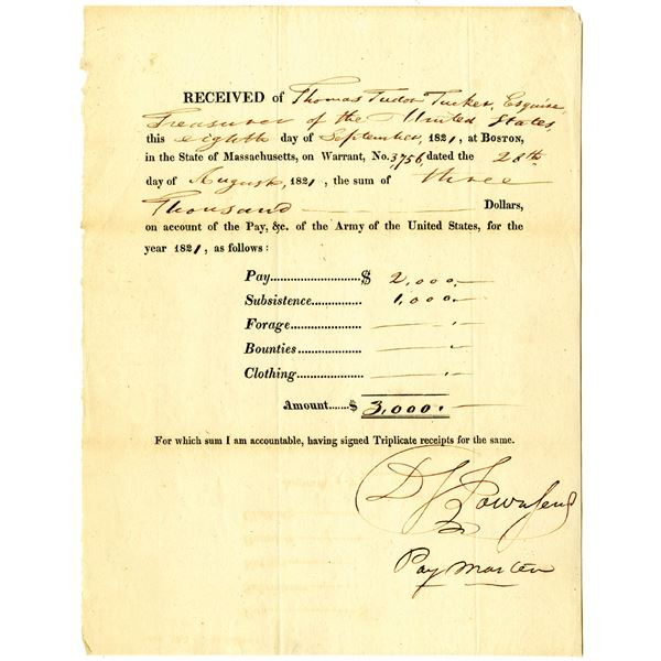 Thomas Tudor Tucker, Treasurer of the United States, 1821 Issued Payment