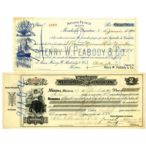 Banco Mercantil De Yucatan and Henry W. Peabody & Co., 1900 and 1903 Issued Bills of Exchange.