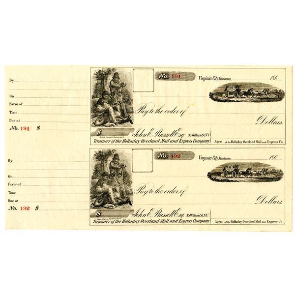 John E. Russell, Esq. Holladay Overland Mail and Express Co., Stage Coach Uncut Check Pair ca. 1860s