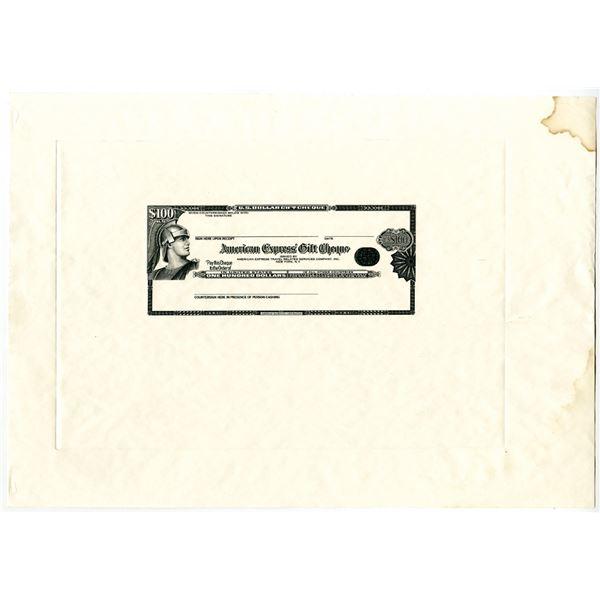 American Express Gift Cheque, ca.1980-90's  Essay Progress Proof
