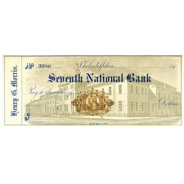 Seventh National Bank, Henry G. Morris Unissued Check, ca. 1870s with Imprinted Revenue RN-L5