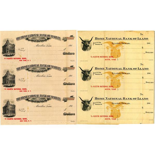 Marlin, Texas and Llano, Texas, ca.1900s, Uncut Proof Checks from Texas Banks,