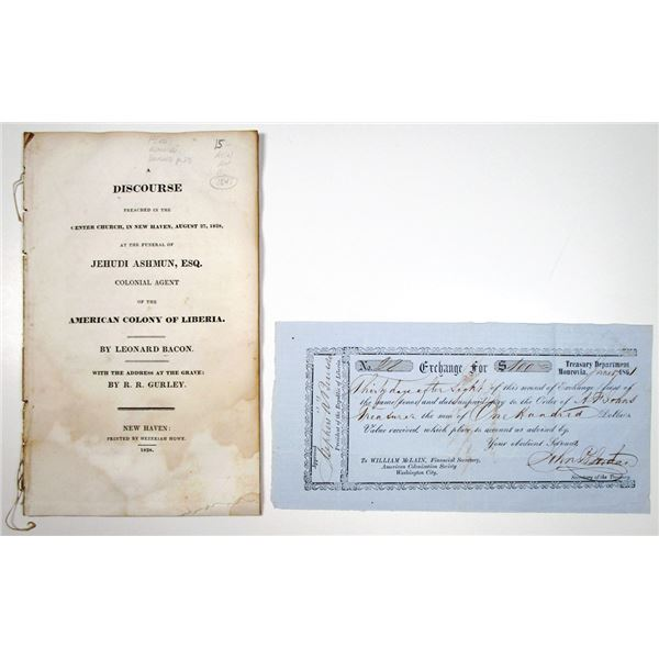 American Colony of Liberia Document and American Colonization Society Treasury 2nd of Exchange Note