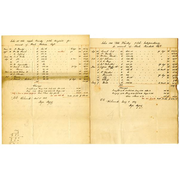 Apple Brandy and  Whiskey Handwritten Sales Accounts for Alcohol on Beale Randall Esq.'s Account, 18