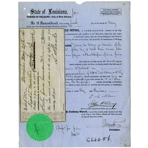 City of New Orleans, 1861-62 Promissory Note & Commissioner Document