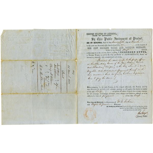 New Orleans Canal and Banking Co., 1851 Notary Public Protest Document