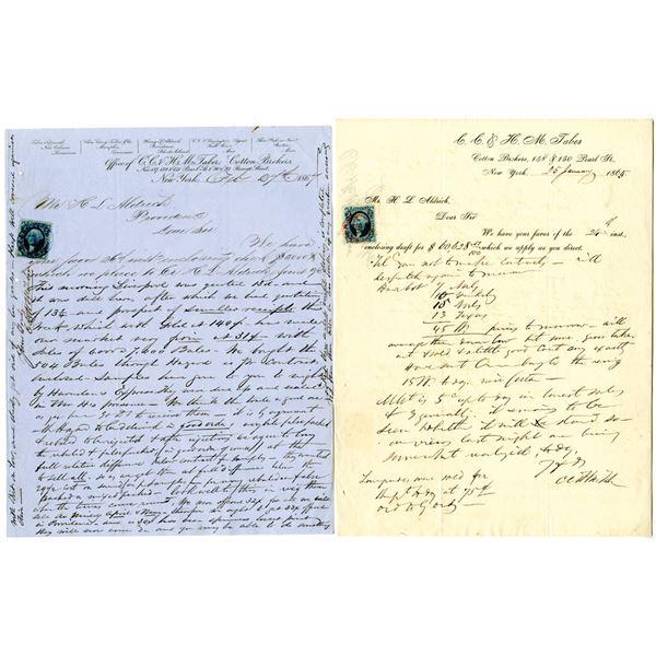 C. C. & H. M. Taber, Cotton Brokers Letter Pair, ca.1865-1867