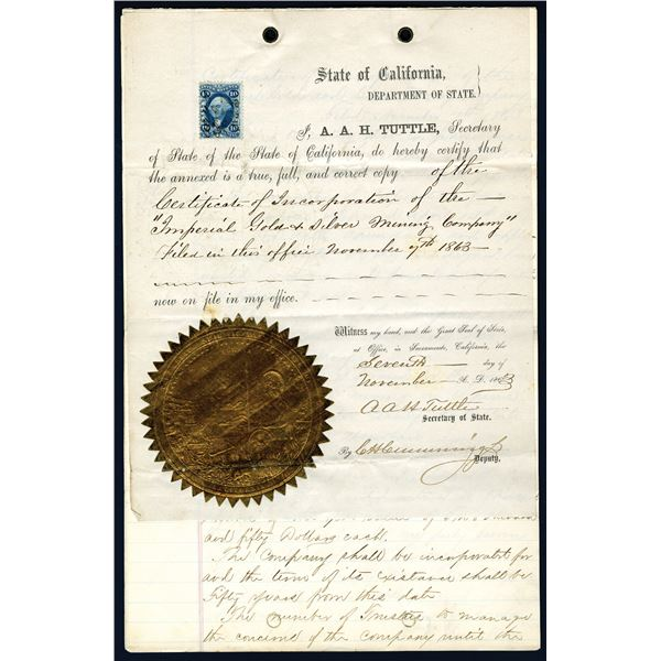 Imperial Gold & Silver Mining Company, 1863 Official Copy of Certificate of Incorporation.